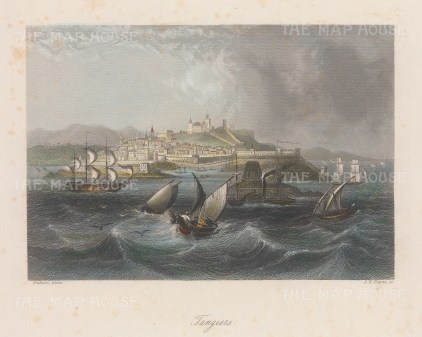"""Kelly: Tangier, Morocco. c1840. A hand coloured original antique steel engraving. 8"""" x 6"""". [AFRp1370]"""