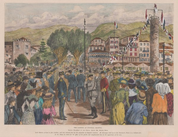 Madeira: Funchal. The Landing of Lord Roberts.