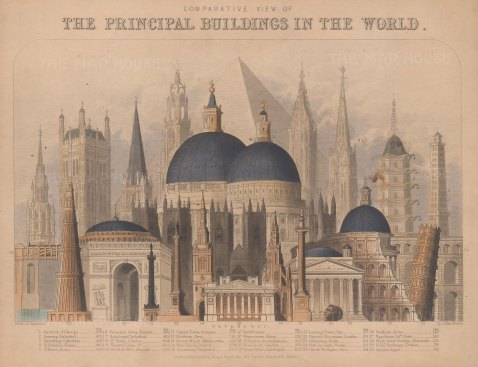 Comparative view of buildings by height including the Pyramid of Cheops, St Peters, St Pauls with key. Framed.