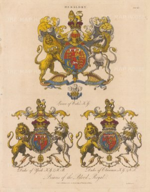 Arms of the Prince of Wales, Duke of York and Duke of Clarence.