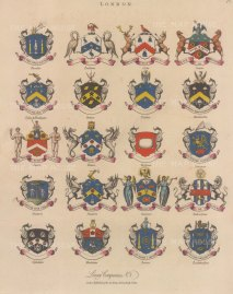 City Livery Arms. 20 arms of Livery companies including the Blacksmiths and Stationers.