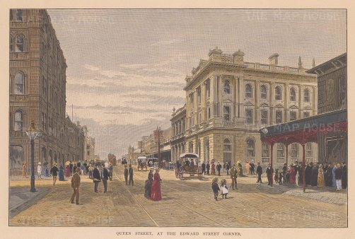 "Picturesque Australia: Queen Street, Brisbane. 1888. A hand coloured original antique wood engraving. 11"" x 8"". [AUSp604]"
