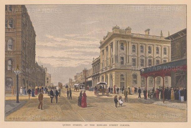 "Picturesque Australia: Queen Street, Brisbane. 1888. A hand coloured original antique wood engraving. 11"" x 8"". [AUSp604]"