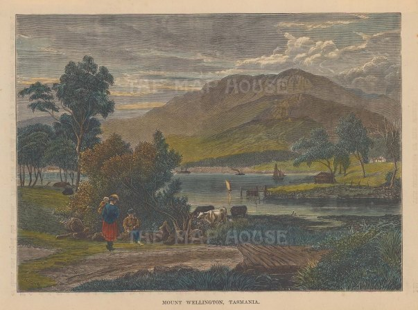 "Brown: Mount Wellington, Tasmania. 1885. A hand coloured original antique wood engraving. 8"" x 6"". [AUSp621]"