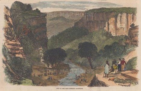 "Illustrated London News: Bathurst. 1851. A hand coloured original antique wood engraving. 10"" x 6"". [AUSp653]"