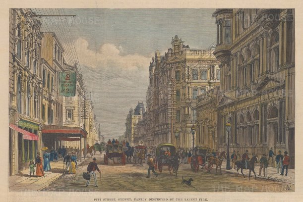"Illustrated London News: Pitt Street, Sydney. A hand coloured original antique wood engraving. 10"" x 7"". [AUSp664]"