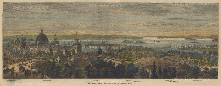 Garden Palace (Royal Botanic Gardens): View from the Steeple of St. James's Church over the harbour to South Heads. With key