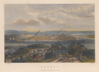 "Sargent: Sydney. c1840. A hand coloured original antique steel engraving. 8"" x 5"". [AUSp716]"