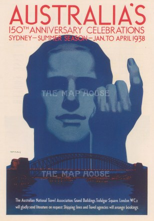Australia's 150th Anniversary Celebrations: National Travel Board promotion by the poster artist Tom Purvis.