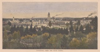 "Picturesque Australia: Sandhurst. 1886. A hand coloured original antique wood engraving. 10"" x 6"". [AUSp750]"