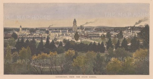 "Picturesque Australia: Sandhurst. 1886. A hand coloured original antique wood engraving. 10"" x 6"". [AUSp750]"