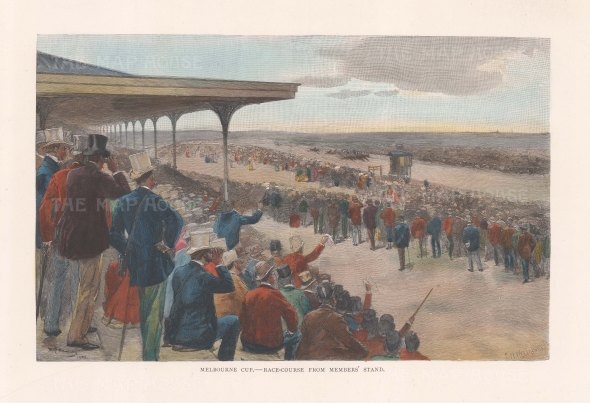 "Picturesque Australia: Melbourne Cup. 1888. A hand coloured original antique wood engraving. 11"" x 7"". [AUSp768]"
