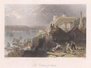 """Bartlett: Quebec. c1838. A hand coloured original antique steel engraving. 8"""" x 7"""". [CANp608]"""