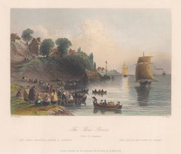 "Bartlett: Trois-Rivieres. 1842. A hand coloured original antique steel engraving. 8"" x 7"". [CANp610]"