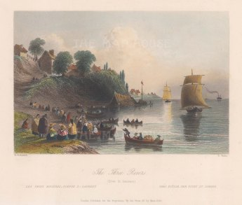 "Bartlett: Trois-Rivieres. 1842. A hand coloured original antique steel engraving. 8"" x 7"". [CANp610]"