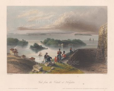"Virtue: Kingston. 1841. A hand coloured original antique steel engraving. 8"" x 7"". [CANp611]"