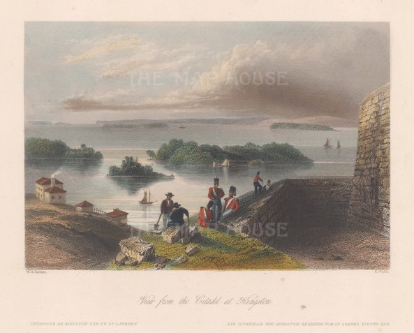 "Virtue: Kingston. 1841. A hand coloured original antique steel engraving. 8"" x 7"". [CANp611]"