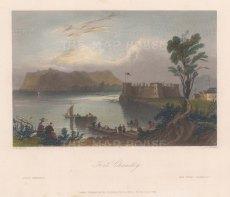 "Bartlett: Fort Chambley, Quebec. c1840. A hand coloured original antique steel engraving. 9"" x 7"". [CANp616]"