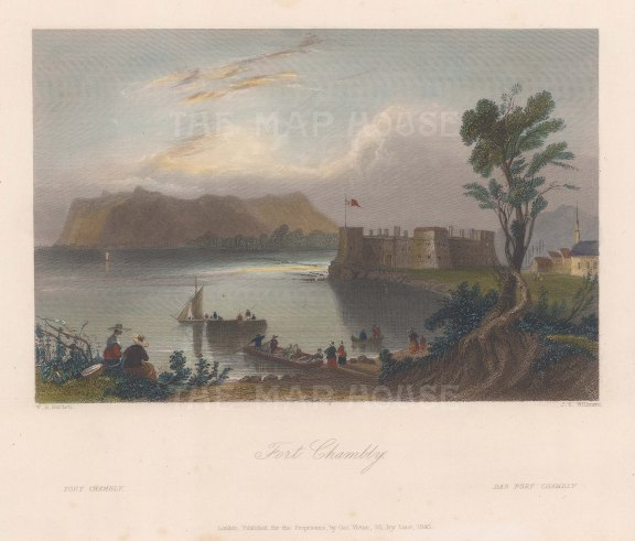 "Bartlett: Fort Chambley, Quebec. c1840. A hand coloured original antique steel engraving. 9"" x 7"". [CANp616]"