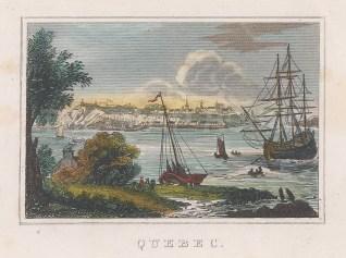 """Anonymous: Quebec. 1844. A hand coloured original antique copper engraving. 4"""" x 3"""". [CANp620]"""