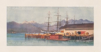 """Mower Martin: Hastings Wharf, Vancouver. 1907. An original antique chromolithograph. 6"""" x 5"""". [CANp652]"""