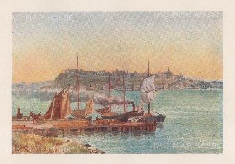 """Mover Martin: Port Nevis, Quebec. 1907. An original antique chromolithograph. 6"""" x 5"""". [CANp662]"""