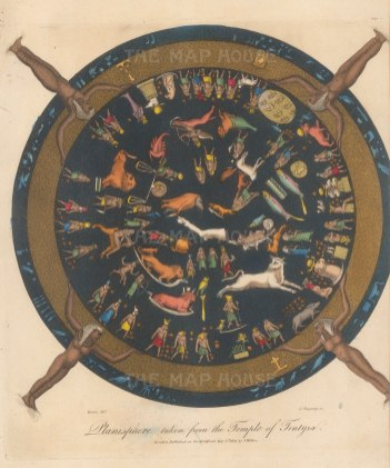 Dendera: Egyptian Planisphere from the ceiling of a shrine dedicated to the god Osiris in the temple of Hathor at Dendera. Renowned as the only complete map of an ancient sky.