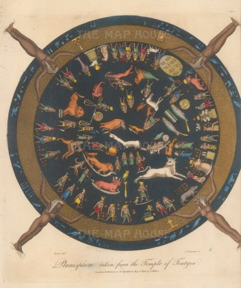 SOLD. Dendera: Egyptian Planisphere from the ceiling of a shrine dedicated to the god Osiris in the temple of Hathor at Dendera. Renowned as the only complete map of an ancient sky.