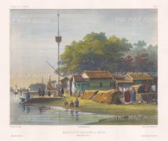 Canton: Mandarin's house: on the banks of a river near Canton. After Barthélemy Lauvergne, one of the artists on the voyage of La Bonite, 1836-7.