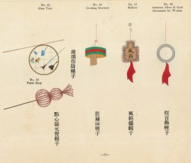 Chinese Pictorial Signs: Highly decorative signs for Glass Toys, Pastry Shop, Steamers, Bellows and Ornaments. Framed.