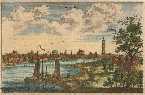 "Nieuhoff: Jiangxi. c1660. A hand coloured original antique copper engraving. 7"" x 5"". [CHNp893]"