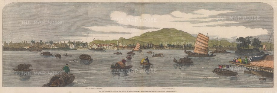 """Illustrated London News: Guangzhou (Canton). 1858. A hand coloured original antique wood engraving. 21"""" x 7"""". [CHNp912]"""