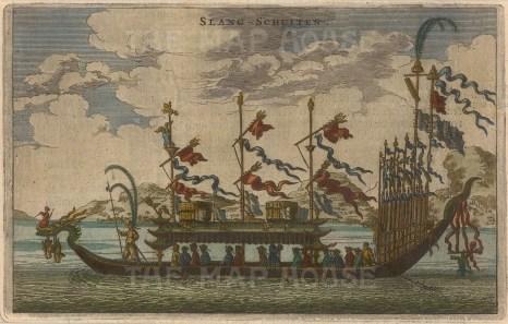 "Nieuhoff: Dragon Boat. c1660. A hand coloured original antique copper engraving. 7"" x 4"". [CHNp931]"