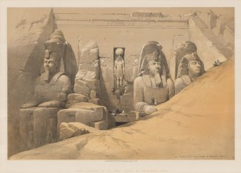 Abu Simble: Elevation of the Great Temple of Ramses II with the four colossi of the Pharaoh with a bas-relief of the god Ra Harakht in centre.