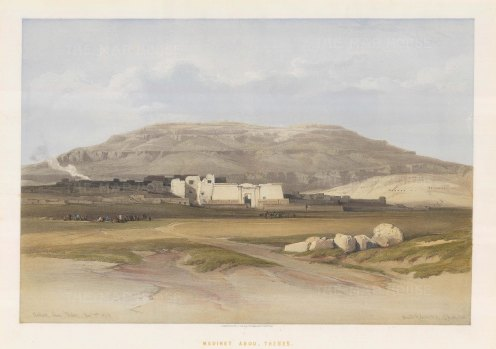 Medinet Abou. Distant view of the Temple.