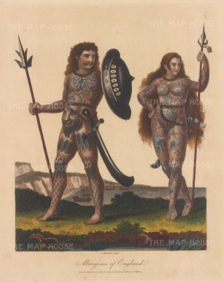 Britons (Aborigines of England). Couple armed, tattooed and painted with woad.