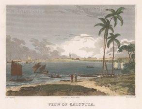 "Craig: Kolkata. c1820. A hand coloured original antique copper engraving. 9"" x 7"". [INDp1160]"