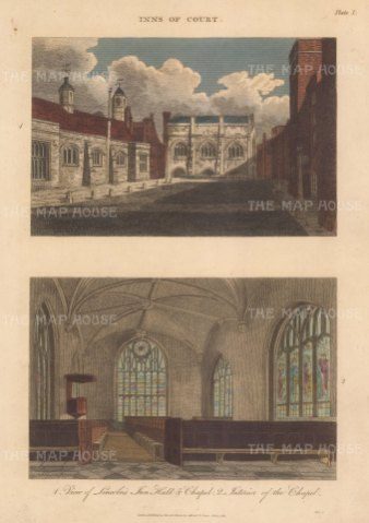 "Wilkes: Inns of Court. 1812. An original hand coloured antique copper engraving. 8"" x 11"". [LDNp10742]"