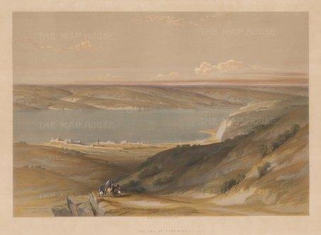 Galilee: Sea of Galilee (Lake Tiberias). Panoramic view showing the sea and surrounding mountains.