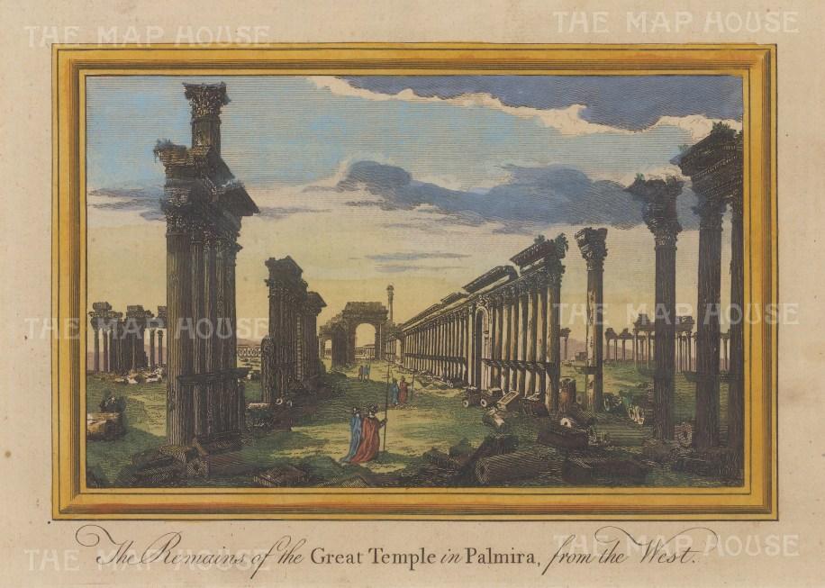 """Moll: Palmyra. 1745. A hand coloured original antique copper engraving. 10"""" x 7"""". [MEASTp1463]"""