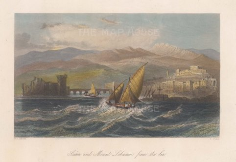 "Bartlett: Sidon. c1840. A hand coloured original antique steel engraving. 8"" x 5"". [MEASTp1519]"