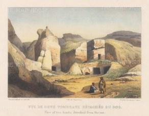 "Laborde: Petra. 1839. A hand coloured original antique lithograph. 14"" x 9"". [MEASTp1553]"