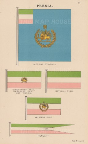 Imperial standard and National, Ensign and Merchant flags of Persia.