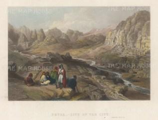 "Virtue: Petra. c1840. A hand coloured original antique steel engraving. 8"" x 6"". [MEASTp1638]"