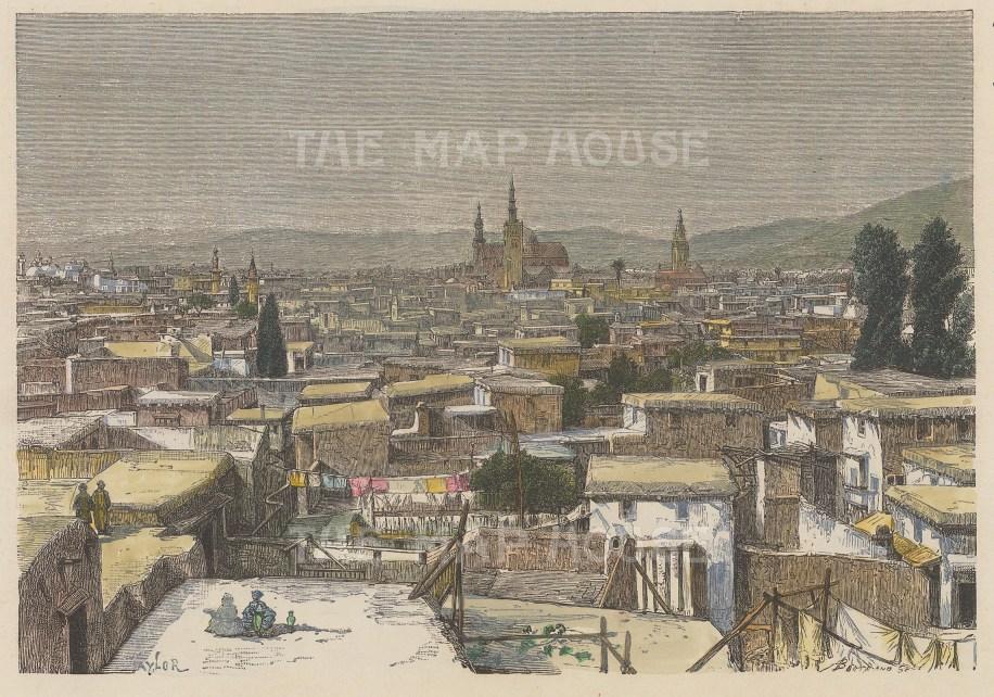 "Reclus: Damascus. 1894. A hand coloured original antique wood engraving. 8"" x 6"". [MEASTp1662]"