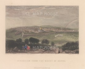 "Fullarton: Jerusalem. 1856. A hand coloured original antique steel engraving. 5"" x 4"". [MEASTp1668]"