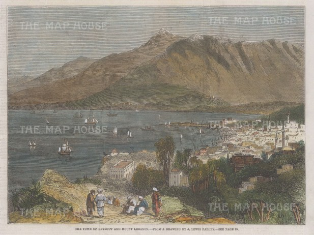 """Illustrated London News: Beirut. 1860. A hand coloured original antique wood engraving. 9"""" x 7"""". [MEASTp1674]"""