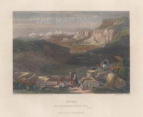 "Fullarton: Petra. 1856. A hand coloured original antique steel engraving. 5"" x 4"". [MEASTp1710]"