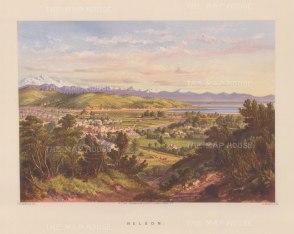 Nelson (Whakatu) from the environs over the city towards Tasman Bay.