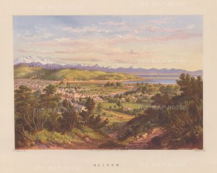 Nelson (Whakatu): View from the environs over the city towards Tasman Bay.